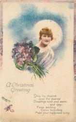 CHRISTMAS GREETING  (woman with bouquet)