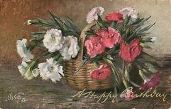 bunch white, left & bunch red, right, in wicker basket, handle visible