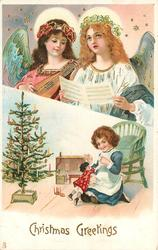 CHRISTMAS GREETINGS  two angels above, small girl with doll below, Xmas tree to left