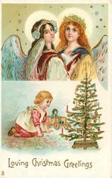 LOVING CHRISTMAS GREETINGS  two angels above, small girl with doll  kneels looking at Xmas tree to right below