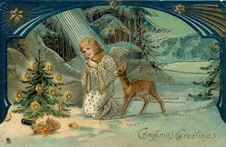CHRISTMAS GREETINGS  kneeling angel prays, deer right
