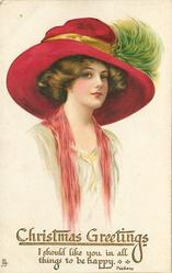 lady facing right in cream dress, red throw, red hat with yellow hat-band & green feathers