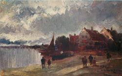 A THAMES VILLAGE  river left, six people in foreground, two boats beached behind one with sail, very distant village behind right