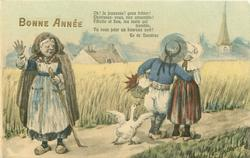 boy & girl stand in road facing away across wheat field, duck behind them protests, woman with stave left