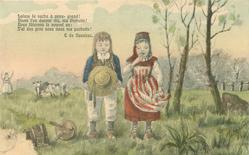 boy & girl stand in field facing front with eyes closed, spilt milk left front