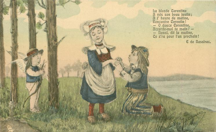 boy kneels before girl standing with eyes closed, cupid lurks among trees left, sea right