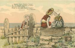 sea back, boy & girl sit on stone wall looking at each other, holding hands, another sad girl left leaning on fence