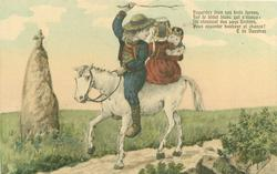 boy, girl & young child all ride a white horse moving left past stone cross on piller