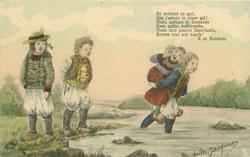 girl carries another piggy-back across shallow river, girl carried thumbs her nose at 2 children standing left with hands in pockets