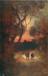 trees left, two  men walk front on path, evening sky & loom of buildings back