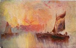 glowing sunset, vivid pastel hues, much light, barges with sails right & left