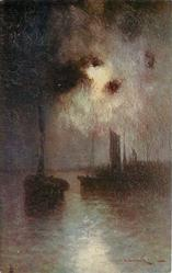 moonlight on the river boat with sail left, more sails & land right, light breaking through centrally