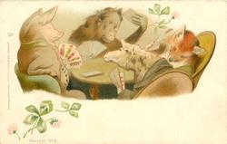 pig sits at table playing cards with orangutang, fox & sheep, 3 & 4 leaf clovers