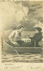 AU FIL DE L'EAU couple hold hands, gazing into each others eyes, in very small boat-LA PALETTE