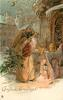 CHRISTMAS GREETINGS  brown robed santa  carrying tree greeted by angel carrying light in front of church behind