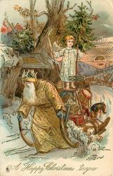 A HAPPY CHRISTMAS TO YOU  yellow robed Santa pulls sleigh with angel standing on top