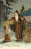 A HAPPY CHRISTMAS  girl kneels before brown robed santa with light, staff and bag