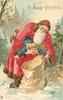 A HAPPY CHRISTMAS  red robed Santa holds boy upside down to put in sack