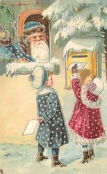 A HAPPY CHRISTMAS  blue robed Santa looks out window at two children posting letters