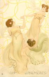 three  maidens in yellow-green, left girl looks up & right, middle girl looks front & up, right girl bent  far back looks up