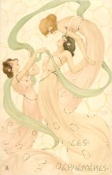 three  maidens in pink, green ribbon intertwined, left & middle girls looks up, top girl bends over