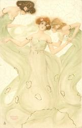three maidens in green, left girl bends forward & looks down, middle girl  looks front, right girl looks left