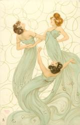 three maidens in green, left girl looks up & over her shoulder, middle girl  looks up, right girl looks left & up
