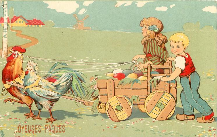 hen & cock pull cart of eggs left, boy & girl behind