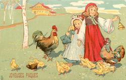 two  girls, one ringing bell, surrounded by cock, hen & chicks