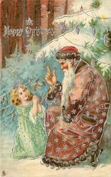 A HAPPY CHRISTMAS  small girl prays before purple robed Santa, both kneeling