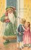 CHRISTMAS GREETINGS  green robed Santa enters, watched by boy and girl