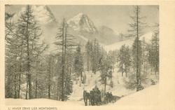 horses pull carriage on sled front up road trees & mountains back