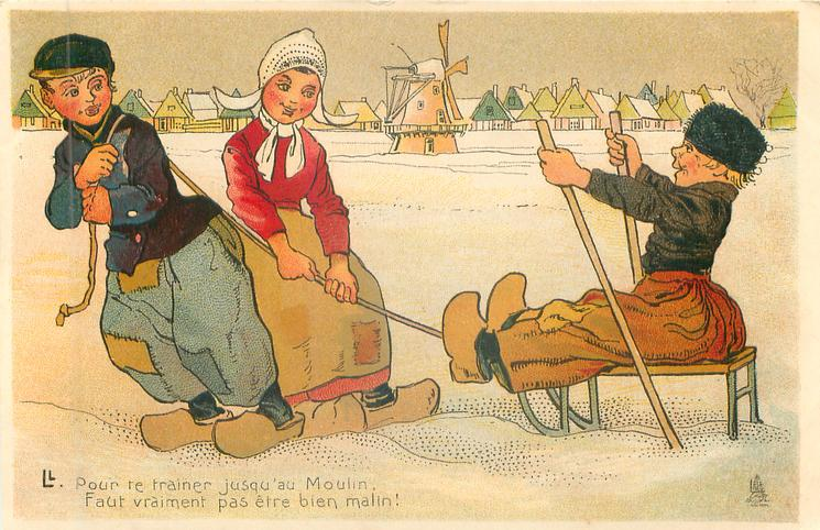 Dutch boy & girl pull boy on sled
