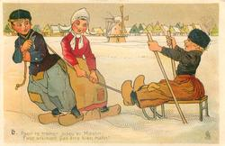 Dutch boy & girl pull boy on sled