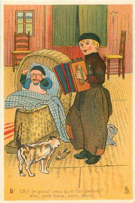 Dutch boy stands playing concertina for crying cross baby, cat observes