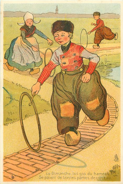 Dutch children bowl hoops