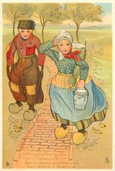 Dutch girl and boy walking on brick path, girl has Delft pot in her left hand