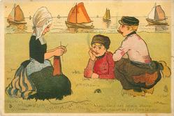 three young Hollanders on grass by sea, girl knits watched by two  smoking boys, distant sailing boats