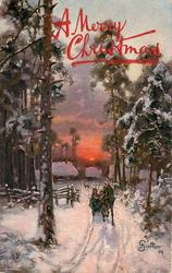 snow scene, horse pulling sled forwards, houses at back