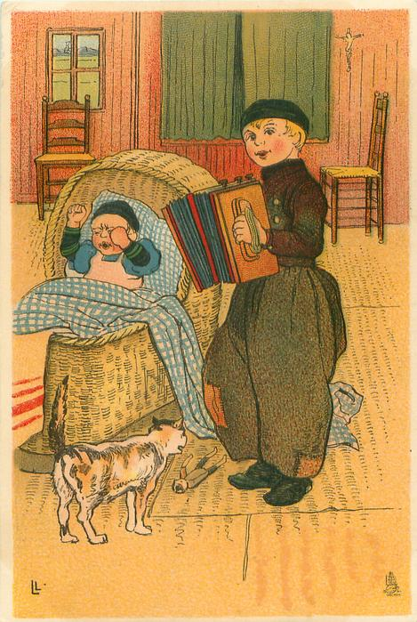 Dutch boy stands playing concertina for crying cross baby in wicker basket, cat observes