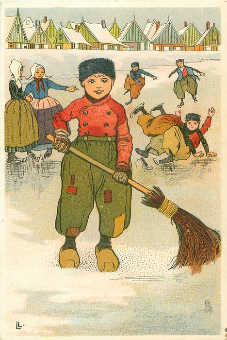 Dutch boy sweeps ice on frozen pond, two girls behind left, four boys behind right, two have fallen
