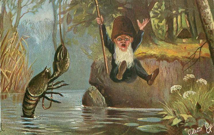 dwarf falling into water in shock having caught a monster crayfish
