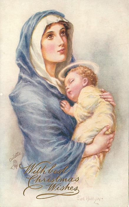 Madonna in blue with sleeping child