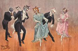 3 couples of cats in evening dress dance, each couple bows or curtseys to partner