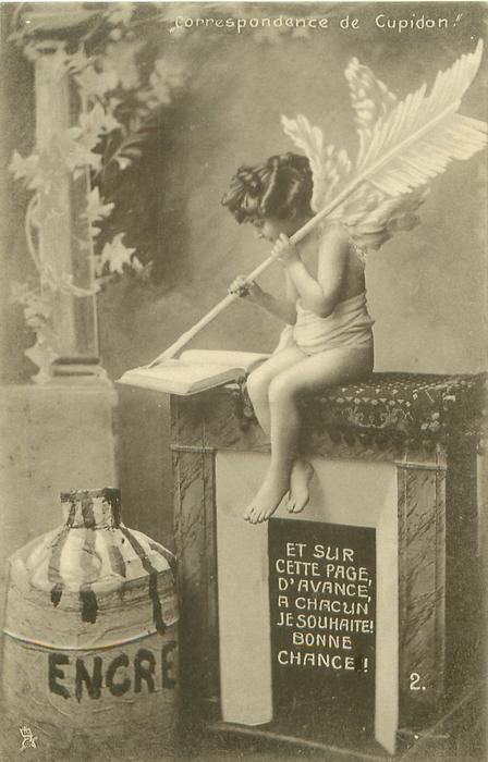 cupid sits on fireplace writing  with large arrow ET SUR CETTE PAGE, D'AVANCE,  A CHACUN JE SOUHAITE! BONNE CHANCE!