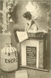 cupid sits on fireplace writing  with large arrow ENSUITE POUR TOUS, JEUNES ET VIEUX JOURS DE BONHEUR, MOMENTS JOYEUX