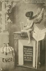 cupid sits on fireplace holding book AUX BEBES DE GROSSES NOUNOUS, AUX ENFANTS DE JOLIS JOUJOUX