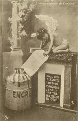 cupid sits on fireplace holding sheet of paper AVEC LES FLECHES DE MON CARQUOIS JE VEUX METTRE LES COEURS EN EMOI