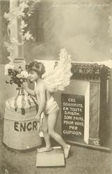 cupid stands on dropped book & puts flowers in inkwell CES SOUHAITS, EN TOUTE SAISON, SONT FAITS, POUR VOUS, PAR CUPIDON