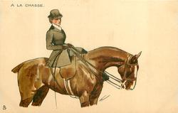 woman in hunting attire rides brown horse, facing right, looking front/right